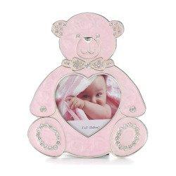 473-3305 Ramka dziecięca z masy perłowej - różowa, miś