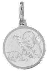 Medalik srebrny (1,5 g) - Aniołek nad dzieciątkiem MK020