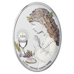 Obrazek Srebrny Pamiątka I Komunii dla dziewczynki owal z podpisem kolor DS05CA