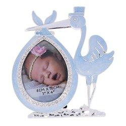 Ramka dziecięca z masy perłowej - niebieska, bocian 473-3322