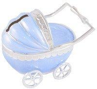 Skarbonka wózek niebieski z masy perłowej