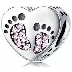 Srebrna przywieszka pr 925 Charms serce stopki różowe cyrkonie PAN177