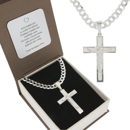 Duży Zestaw srebrny łańcuch szer. 5,7 mm z krzyżem + GRAWER MO111/GR150/P3