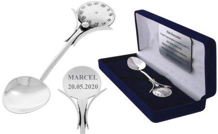 Łyżeczka srebrna pr. 925 z zegarem grawer gratis Ł03
