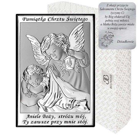 Obrazek srebrny Anioł Stróż Pamiątka Chrztu 6572