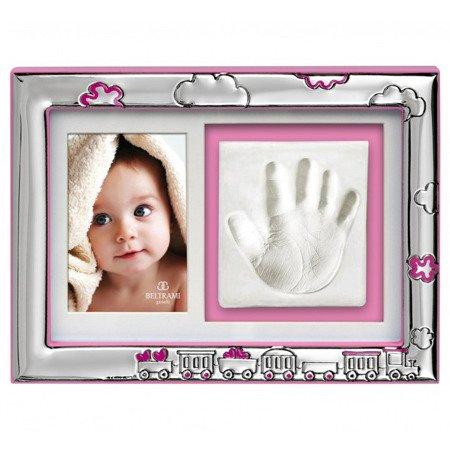 Ramka srebrna z miejscem na odcisk dłoni dziecka 3584R