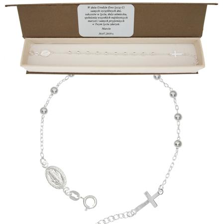 Różaniec srebrny - piękna bransoletka na rękę różaniec w pudełku ozdobnym BRS39/BA-9