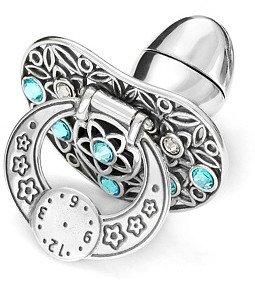 Smoczek srebrny  z zegarem NIEBIESKIE CYRKONIE pr 925 SM16 OTWIERANY MIEJSCE NA PIERWSZY ZĄBEK