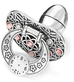 Smoczek srebrny  z zegarem RÓŻOWE CYRKONIE pr 925 SM14 OTWIERANY MIEJSCE NA PIERWSZY ZĄBEK