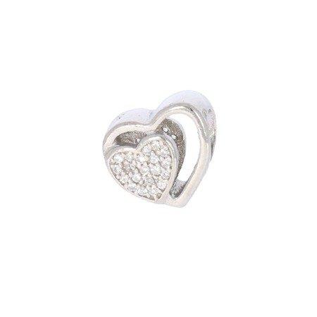 Srebrna przywieszka pr 925 Charms podwójne serce cyrkonie PAN012