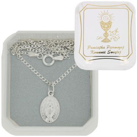 Zestaw medalik Matka Boża Niepokalana Cudowny medalik łańcuszek pudełko ML001/L40GRF6/P22