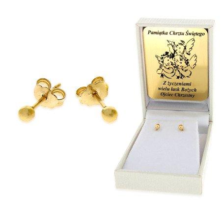 Złote kolczyki pr. 585 kulka mała sztyft ZA004/PDH-3/NA/A1/G