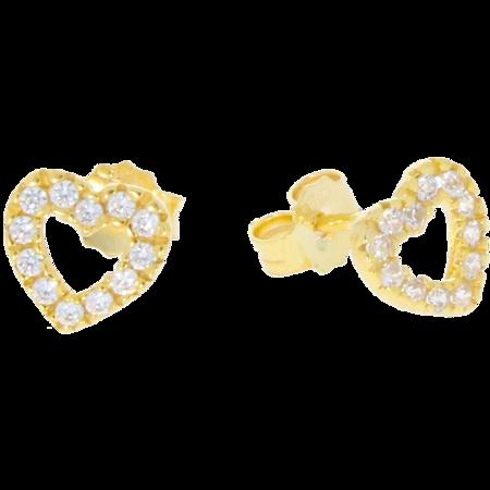 Złote kolczyki pr. 585 serduszka cyrkonie sztyft ZA003