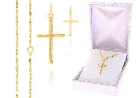 Złoty komplet pr. 585 krzyżyk łańcuszek ZK004/ZL004/PDH-3/A1/GZ