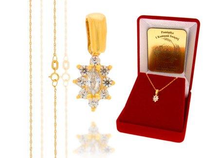 Złoty komplet pr. 585 kwiat ZP008/ZL004/P7/FLOKCZERW/GZ