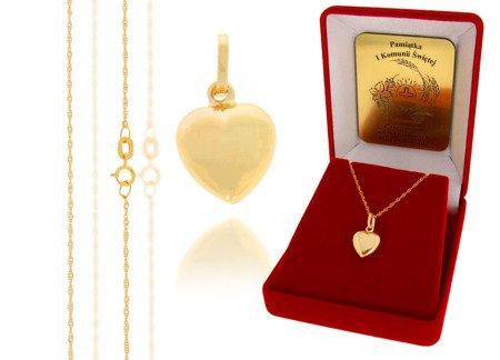 Złoty komplet pr. 585 serce ZP020/ZL004/P7/FLOKCZERW/GZ