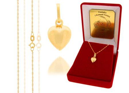 Złoty komplet pr. 585 serce ZP021/ZL004/P7/FLOKCZERW/GZ