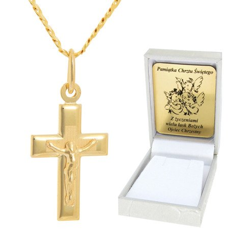 Złoty łańcuszek z krzyżykiem pr. 585 ZK045/ZL013-45/PZH-3/A1/GZ