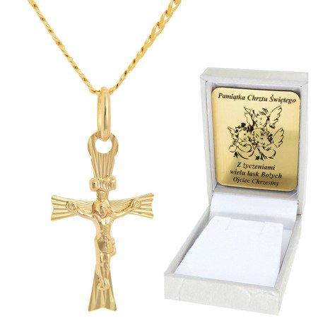 Złoty łańcuszek z krzyżykiem pr. 585 ZK047/ZL013-45/PZH-3/A1/GZ