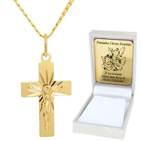 Złoty łańcuszek z krzyżykiem pr. 585 ZK049/ZL013-45/PZH-3/A1/GZ