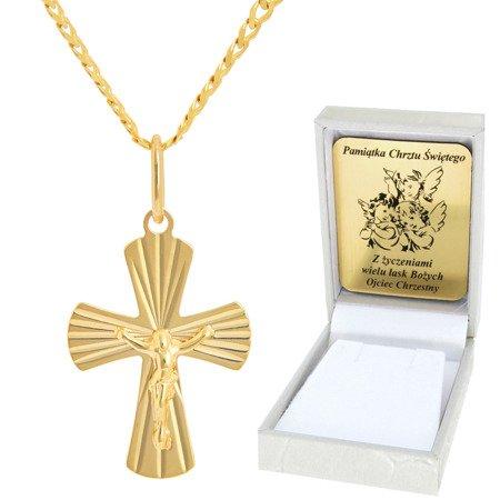 Złoty łańcuszek z krzyżykiem pr. 585 ZK051/ZL013-45/PZH-3/A1/GZ