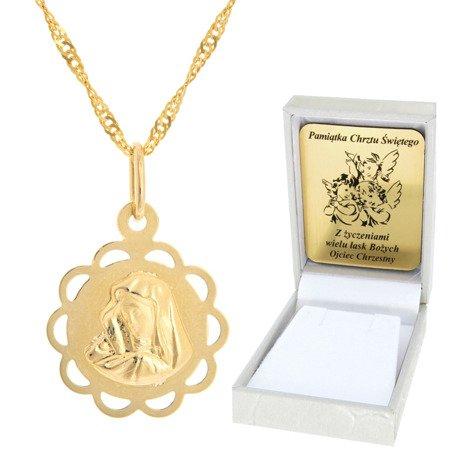 Złoty łańcuszek z medalikiem kwiatek ażur Matka Boska pr. 585
