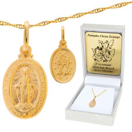 Złoty łańcuszek z medalikiem owal Cudowny Medalik pr. 585