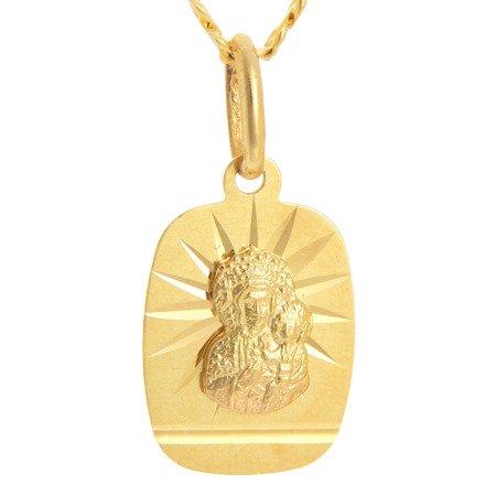 Złoty medalik pr. 585 M.B. Częstochowska prostokąt promienie ZM051