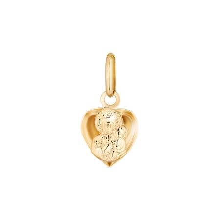 Złoty medalik pr. 585 M.B. Częstochowska serce wypukłe  ZM108