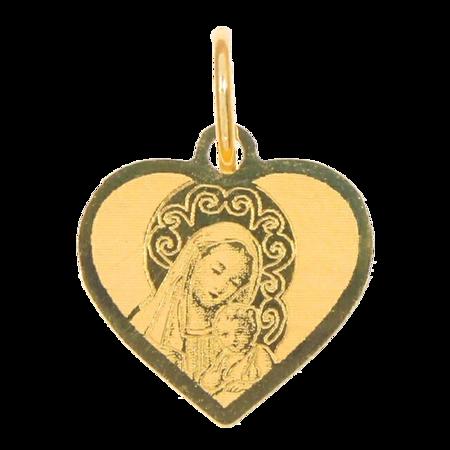 Złoty medalik pr. 585 M.B. z dzieciątkiem serce ZM008